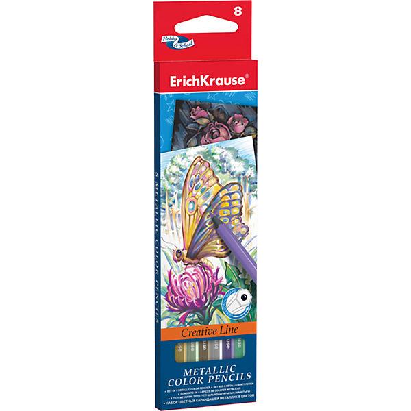 Цветные карандаши шестигранные ArtBerry Metallic, 8 цветов
