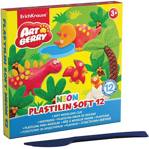 Пластилин мягкий Artberry NEON 12 цветов, 240г, со стеком