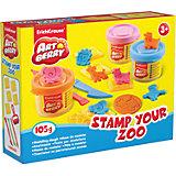 Набор для лепки: Пластилин на растительной основе Stamp Your Zoo 3 цвета по 35г