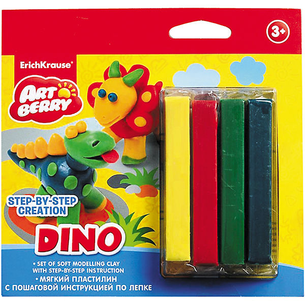 Пластилин мягкий 4цв+инструкция Dino Step-by-step Сreation Artberry