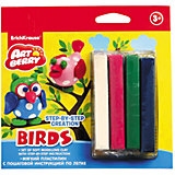 Пластилин мягкий 4цв+инструкция Birds Step-by-step Сreation Artberry