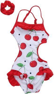 Купальник для девочки Sweet Berry - красно-белый