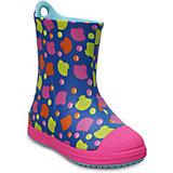 Резиновые сапоги Kids' Crocs Bump It Graphic Rain Boot, синий, розовый