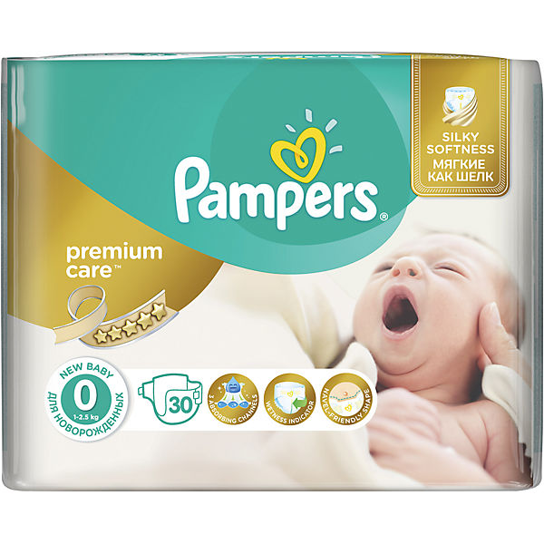 Подгузники Pampers Premium Care, 0-2,5 кг, 0 размер, 30 шт., Pampers