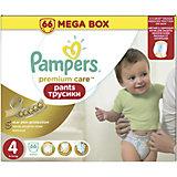 Подгузники-трусики Pampers Premium Care Pants, 9-14кг, размер 4, 66 шт., Pampers