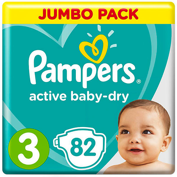 Подгузники Pampers Active Baby-Dry, 5-9 кг, 3 размер, 82 шт., Pampers