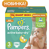 Подгузники Pampers Active Baby-Dry, 5-9 кг, 3 размер, 126 шт., Pampers