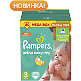 Подгузники Pampers Active Baby-Dry, 5-9 кг, 3 размер, 150 шт., Pampers