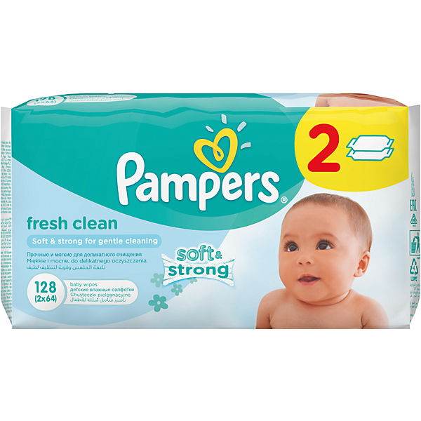 Салфетки детские влажные Pampers  Baby Fresh Clean,  128 шт., Pampers