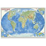 """Настенная карта """"Мир Физический"""" М1:27,5 млн, 101*69 см, ламинированная"""