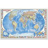 """Настенная карта """"Мир Политический"""" с флагами М1:24 млн, 124*80 см"""
