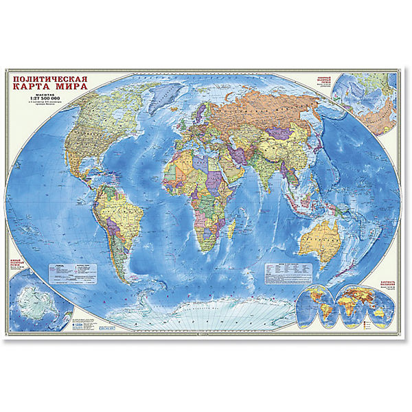 """Настенная карта """"Мир Политический"""" М1:27,5 млн, 101*69 см, ламинированная"""