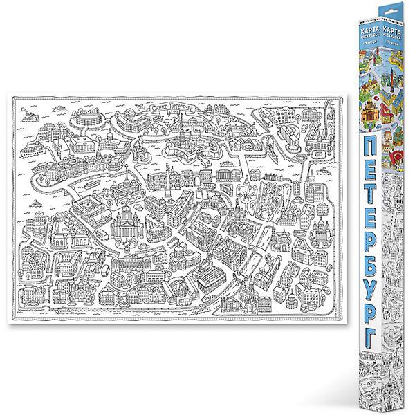 """Карта-Раскраска """"Санкт-Петербург"""" 101*69 см"""