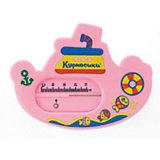 "Термометр для ванны ""Пароходик"", Kurnosiki, розовый"