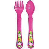 Набор: ложечка и вилочка, серия «Сафари», Kurnosiki, розовый