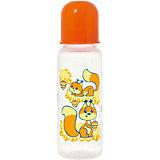 """Бутылочка с латексной соской """"Мои любимые животные"""", 250 мл, Kurnosiki, оранжевый"""