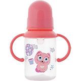 Бутылочка с ручками и силиконовой соской,125 мл, Kurnosiki, розовый