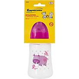 Бутылочка с силиконовой соской Бегемот, 250 мл., Kurnosiki, розовый