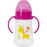 Бутылочка для кормления с ручками и силиконовой соской Жираф, 250 мл, Kurnosiki, розовый