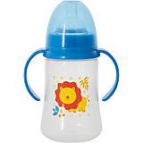 Бутылочка для кормления с ручками и силиконовой соской Лев, 250 мл, Kurnosiki, синий