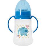 Бутылочка для кормления с ручками и силиконовой соской Слон, 250 мл, Kurnosiki, синий
