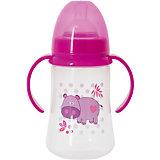 Бутылочка для кормления с ручками и силиконовой соской Бегемот, 250 мл, Kurnosiki, розовый