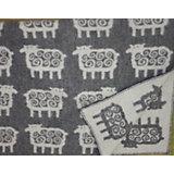 Одеяло эко-шерсть 90х130, лесные олени, Klippan, серый