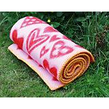 Одеяло эко-шерсть 65х90, сердечки, Klippan, красный