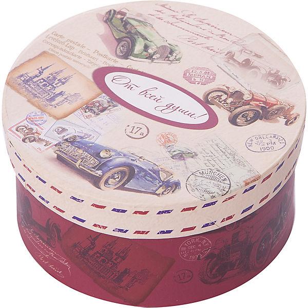 """Коробка подарочная """"Ретро машины"""", 14х14х7см., Феникс-Презент"""