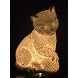 """Лампа настольная """"Кошка с клубочком"""", электрическая из фарфора, Феникс-Презент"""