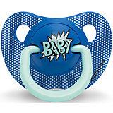 """Пустышка силиконовая  BABY """"Baby Art"""", 0-6 мес., Suavinex, синий"""