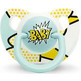 """Пустышка силиконовая  BABY """"Baby Art"""", 6-18 мес., Suavinex, желто/голубой"""