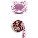 """Набор пустышка+держатель от 4 мес """"Haute Couture"""", Suavinex, розовый пуантилизм"""