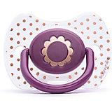 """Пустышка силиконовая """"Haute Couture"""", от 4 мес, Suavinex, фиолетовый цветок"""