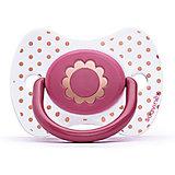 """Пустышка силиконовая """"Haute Couture"""", от 12 мес, Suavinex, розовый  цветок"""