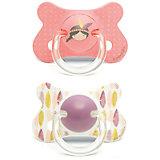 Пустышка силиконовая от 18мес., 2шт., Suavinex, розовый индеец