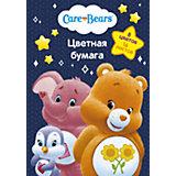 """Цветная односторонняя бумага """"Care Bears"""", 16 листов, 8 цветов, Заботливые мишки"""