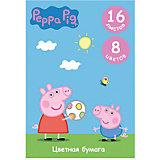 """Цветная односторонняя бумага, 16 листов, 8 цветов,""""Свинка Пеппа"""", Peppa Pig"""