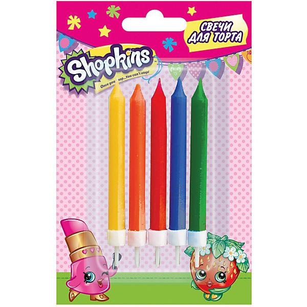 Набор свечей с держателями, 5 шт.*7 см, Shopkins