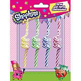 Набор спиральных свечей 4 шт.*9 см, Shopkins