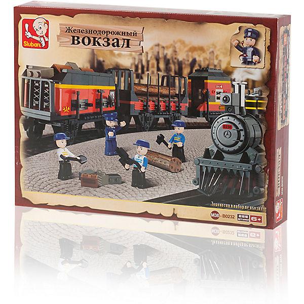 """Конструктор """"Железнодорожный вокзал: Товарный поезд"""", 255 деталей, Sluban"""