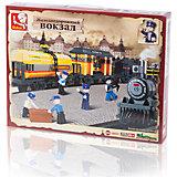 """Конструктор """"Железнодорожный вокзал: Грузовой поезд"""", 328 деталей, Sluban"""