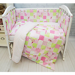 Комплект постельного белья Совы Baby Nice, розовые