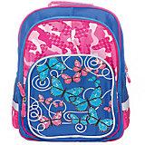 Рюкзак с тремя отделениями Junior Prime Бабочки-цветочки, ортопедическая спинка
