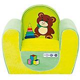 """Детское игровое кресло """"Медвежонок"""", желтый+салатовый, PAREMO"""