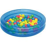 Детский надувной бассейн с 50 шариками для игры, Bestway, голубой