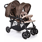 Прогулочная коляска для двойни Baby Care Tandem, коричневый/бежевый