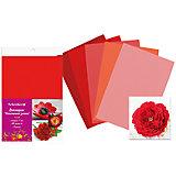 Набор фоамирана, 10листов, 1мм, А4, 5 цветов в ассортименте, красная палитра