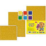 Набор цветной пористой резины с блестками, формат А4, 6 листов, 6 цв.