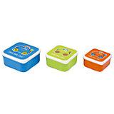 Контейнеры для еды 3 шт, голубой, оранжевый, зеленый